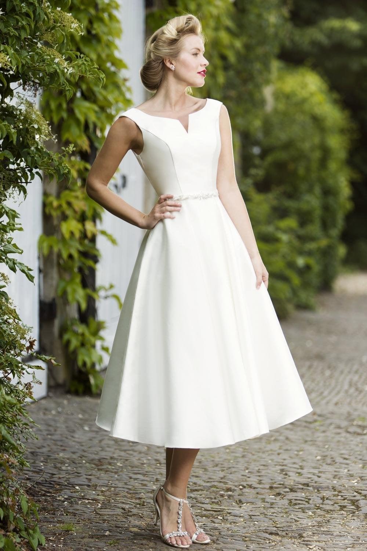 Bardot Tea Calf Length Mikado Vintage Inspired Wedding Dress With Bateau Neckline
