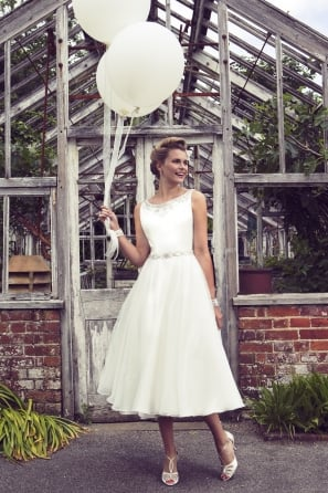 CARRIE 1950s Tea Length Short Wedding Dress