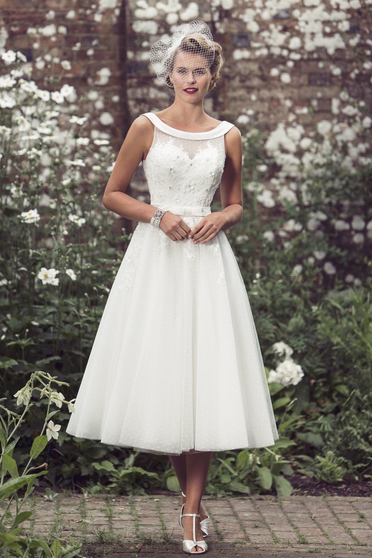 DOLLY Tea Length 1950s Audrey Hepburn Style Wedding Dress Brighton Belle