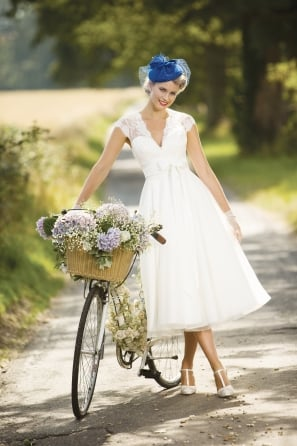 EVA Calf Tea Length Wedding Gown With Cap Sleeve