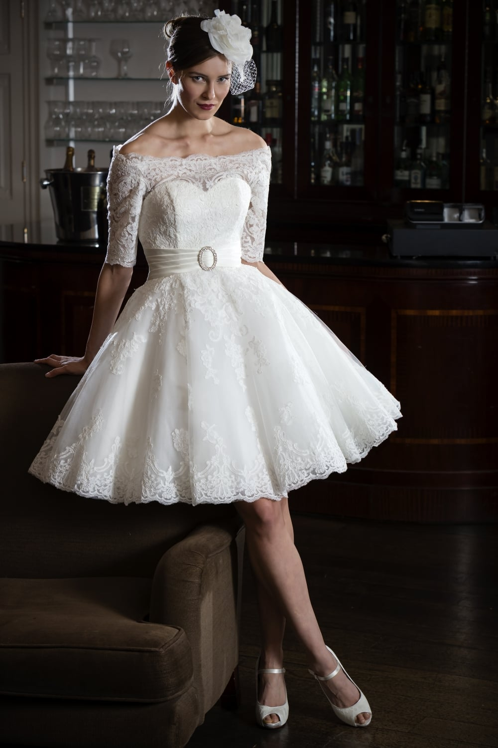 Wedding dresses for mature brides add sleeves wedding dress for Mid length wedding dress