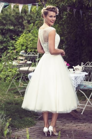 GRACIE - 1950s Champagne Colour Vintage Calf Length Wedding Gown