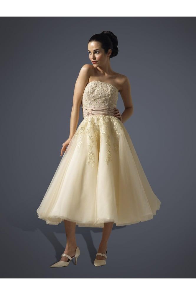 Justina Tea Length Wedding Dress 1950s Style W925