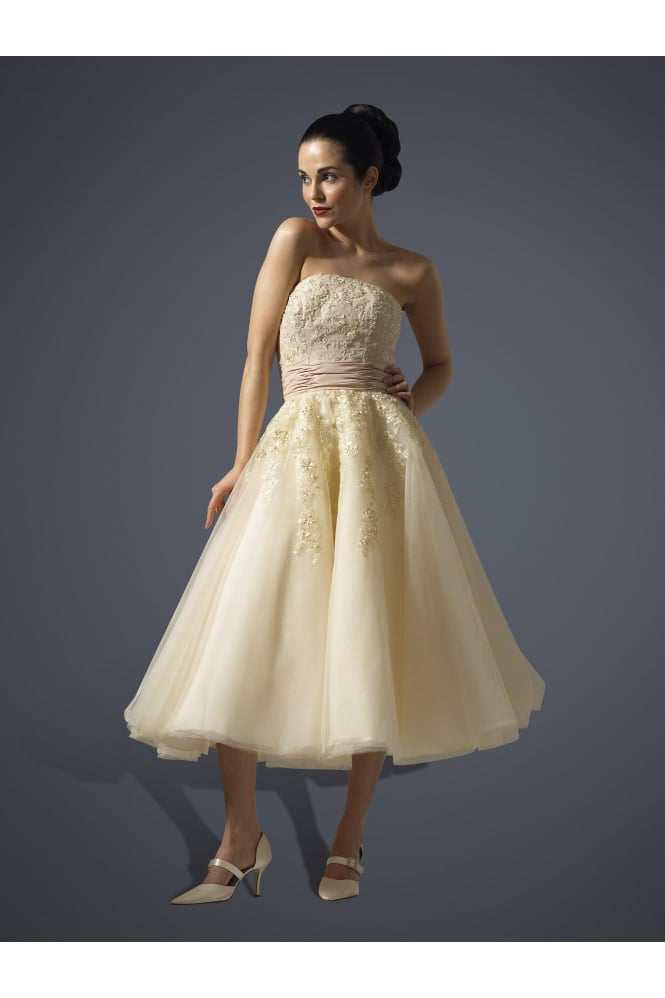 Brighton Belle by True Bride JUSTINA Champagne Calf Length 1950s Style Strapless Wedding Gown