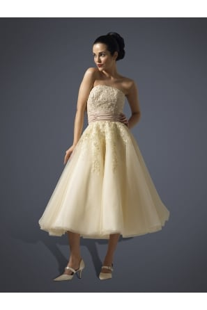 JUSTINA Champagne Calf Length 1950s Style Strapless Wedding Gown