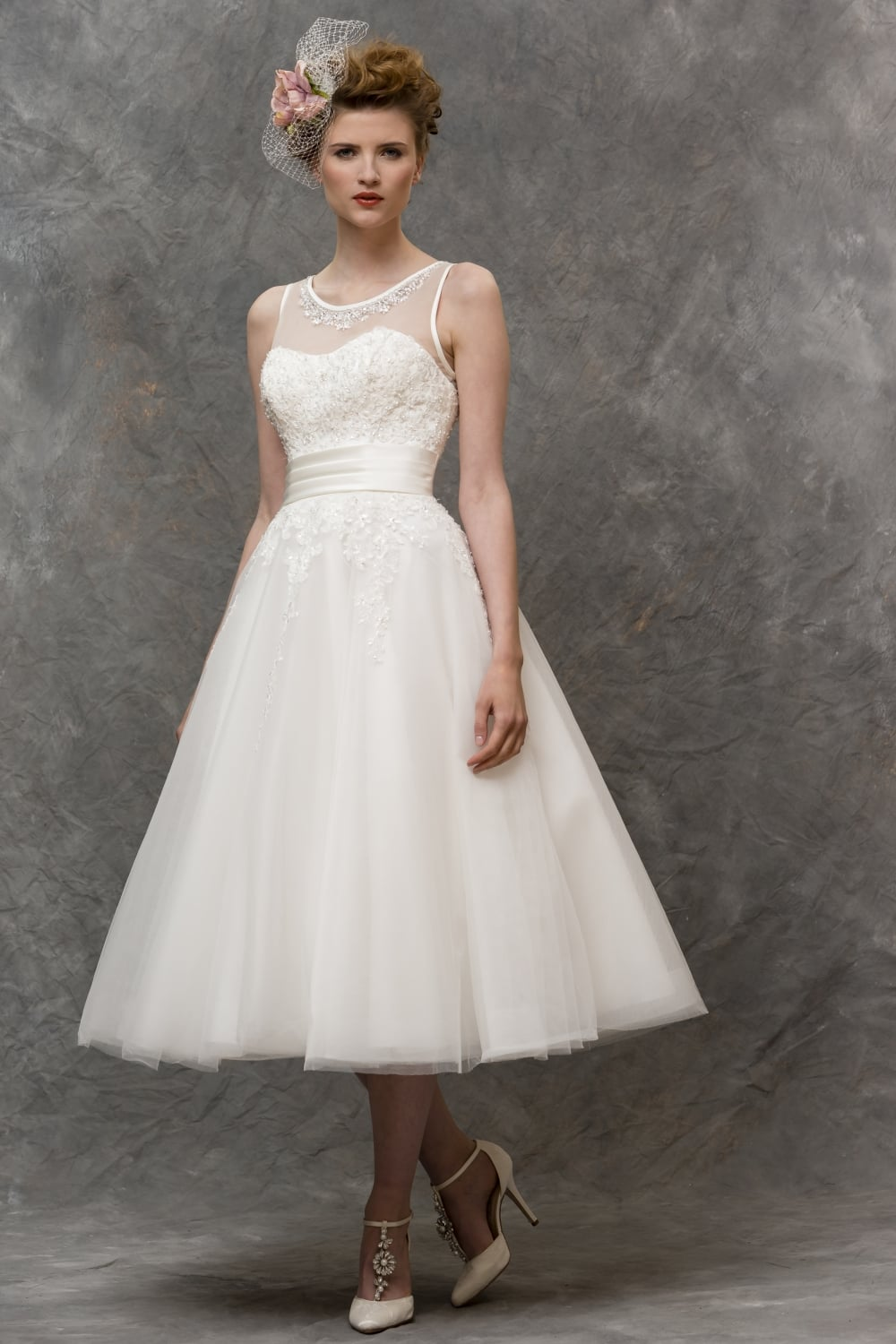 lizzie 1950s tea length short wedding dress