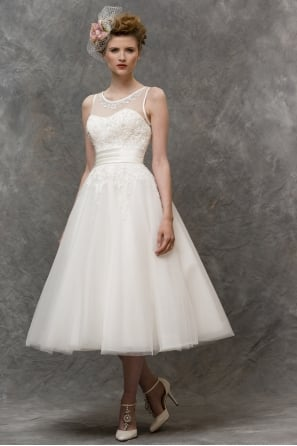 LIZZIE Champagne 1950s inspired Calf Length Wedding Gown With Jewell Neckline