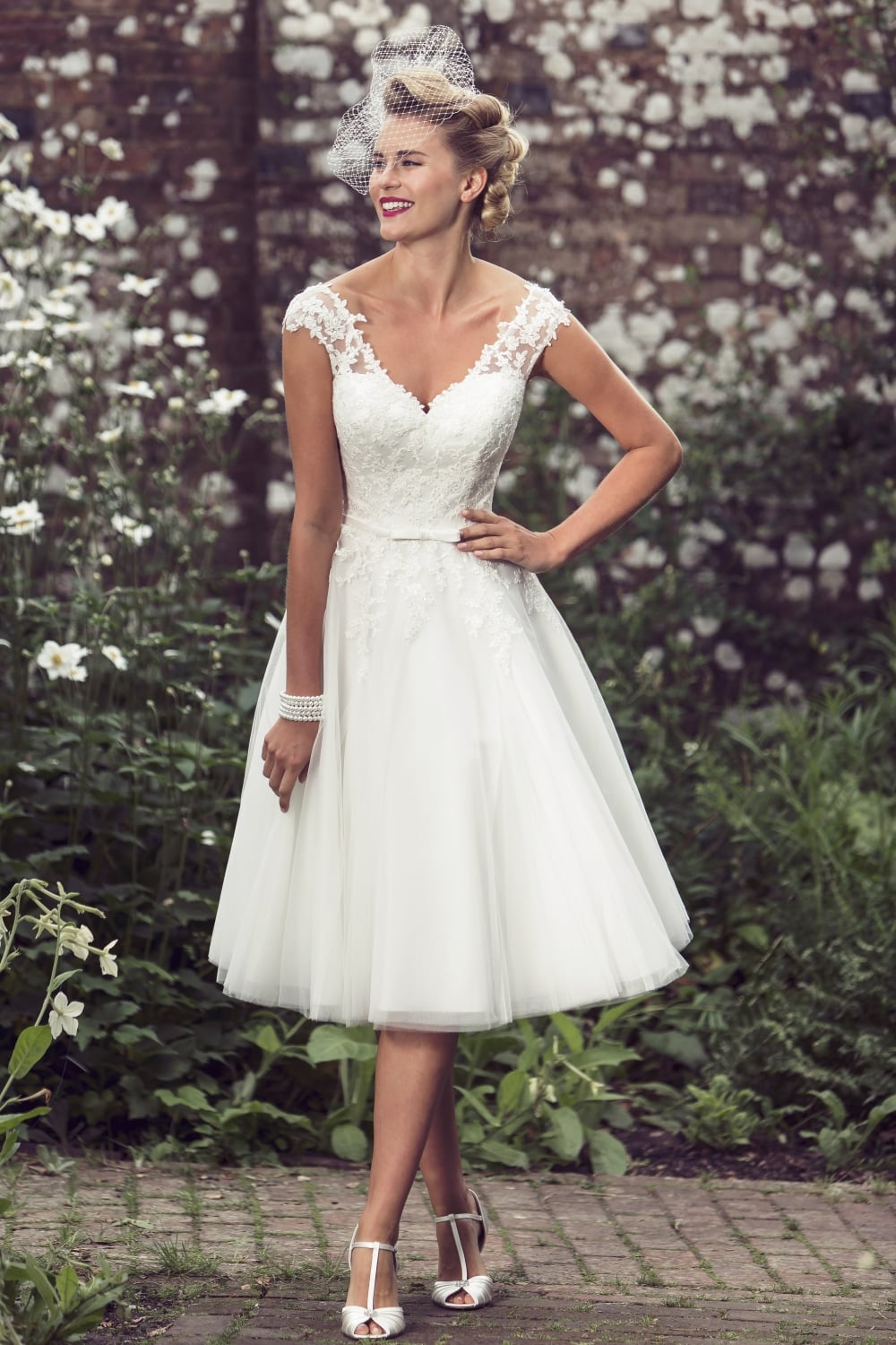 Lottie 1950s Tea Length Short Vintage Wedding Dress