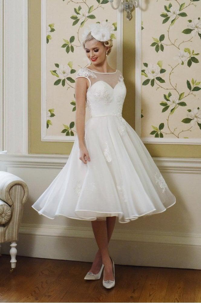 short wedding dress - LUELLA 1950s Tea Length Wedding Dress With Cap Sleeve