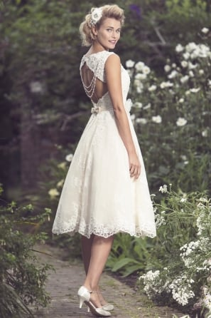 MIA Sparkly Vintage Inspired Tea Length Short Wedding Dress