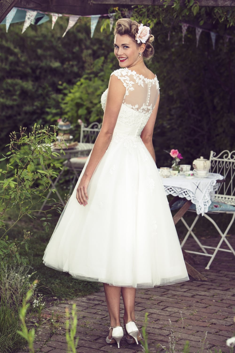 Molly Mae Calf Length 1950s Vintage Retro Short Wedding Dress