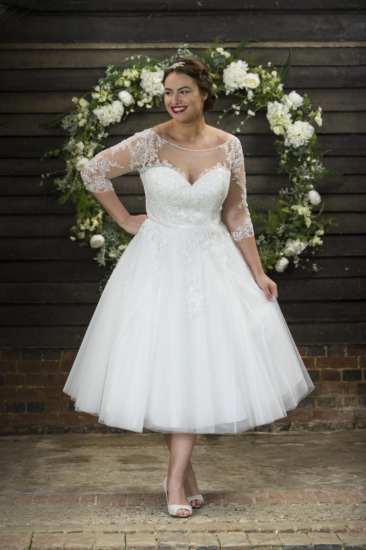 Polly Brighton Belle Calf Length Vintage 50s Wedding Dress Sleeves