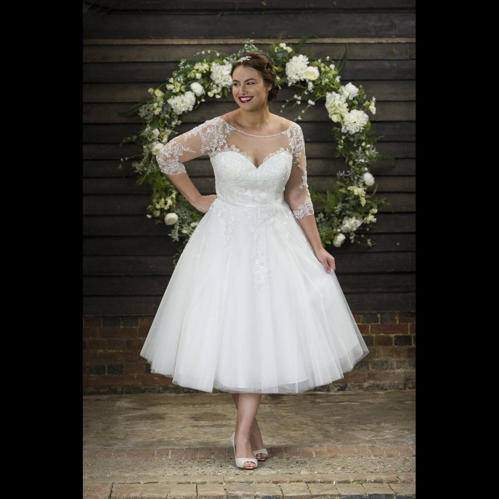 Polly Brighton Belle Calf Length Vintage 20s Wedding Dress Sleeves