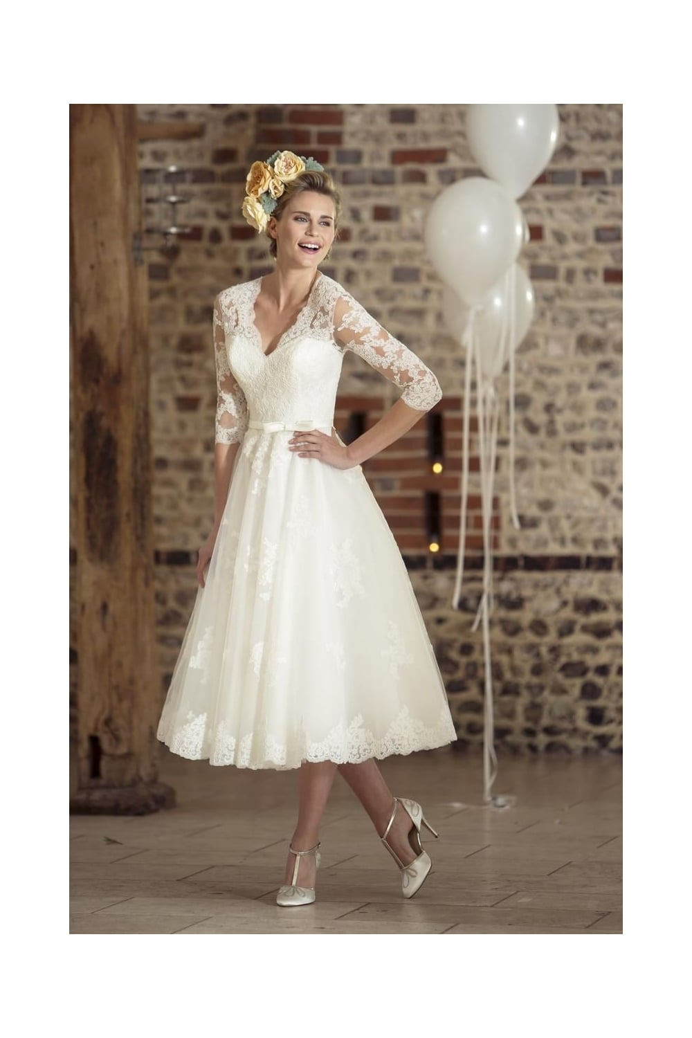 26b040ac9965b True Bride W35 ROSIE Tea Length Lace 50s 60s Short Bridal Dress Sleeves