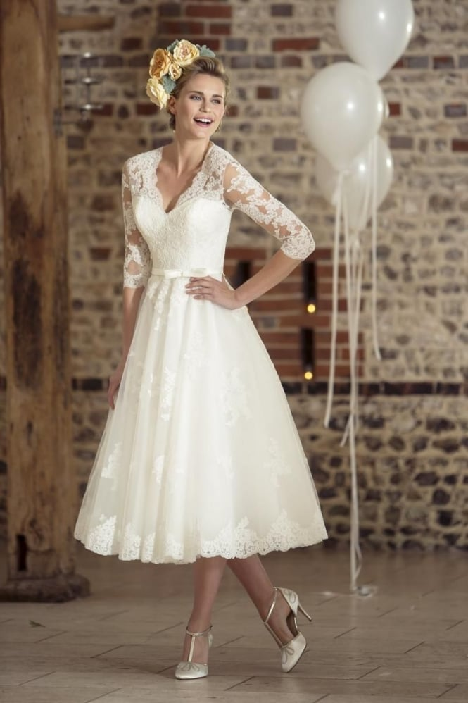 Brighton Belle by True Bride ROSIE Tea Length Vintage 1950s 60s Short Wedding Dress With Sleeves