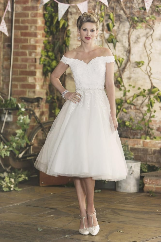 Brighton Belle by True Bride Tilly Tea Length 1950s Short Wedding Dress With Sparkle
