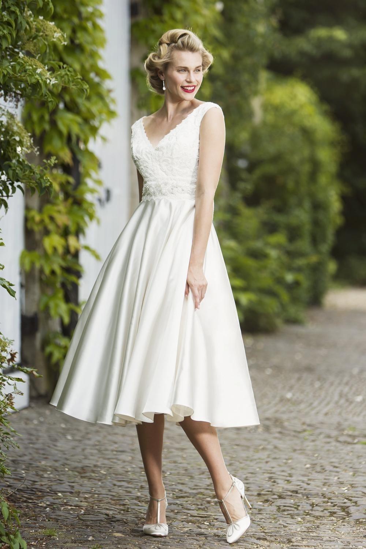 Whitney Tea Calf Length Vintage 50s Retro Wedding Gown