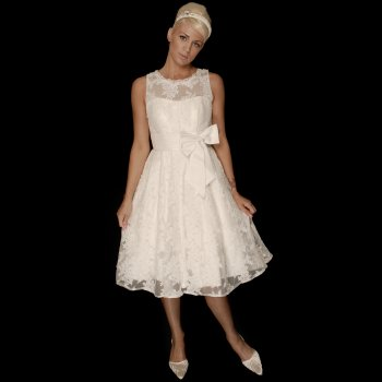 Carla Tea Length Lace Vintage 1950 Style Wedding Dress