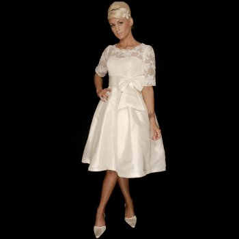 Josie Tea Length 1950s Style Short Wedding Dress With Sleeves Buy Online