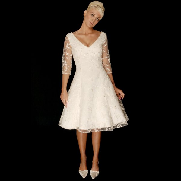 Judy knee length short lace wedding dress with sleeves for Knee length wedding dresses with sleeves