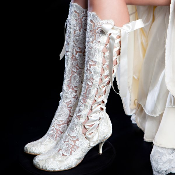 Wedding Dresses With Boots: 'Evangeline Elliot' Ivory Vintage Lace Knee High Wedding