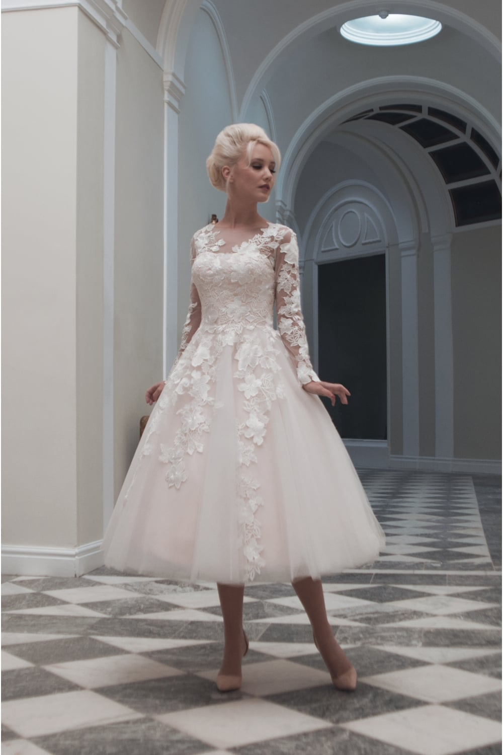 House of mooshki charlotte tea calf length short lace for Calf length wedding dresses