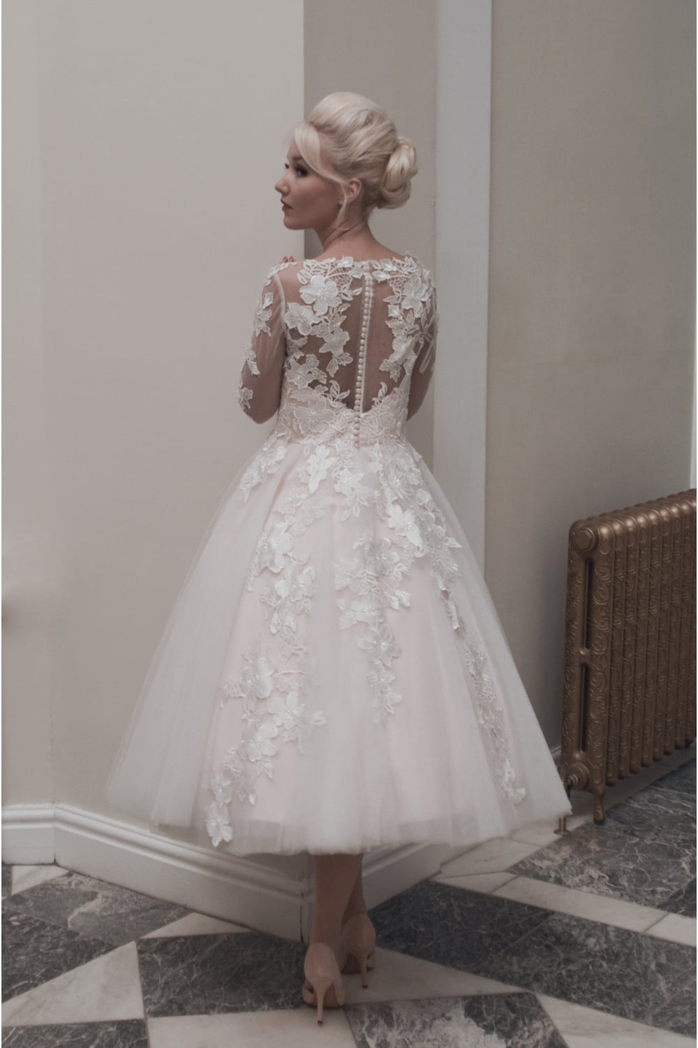 House of Mooshki Charlotte Tea Calf Length Short Lace Wedding Dress ...