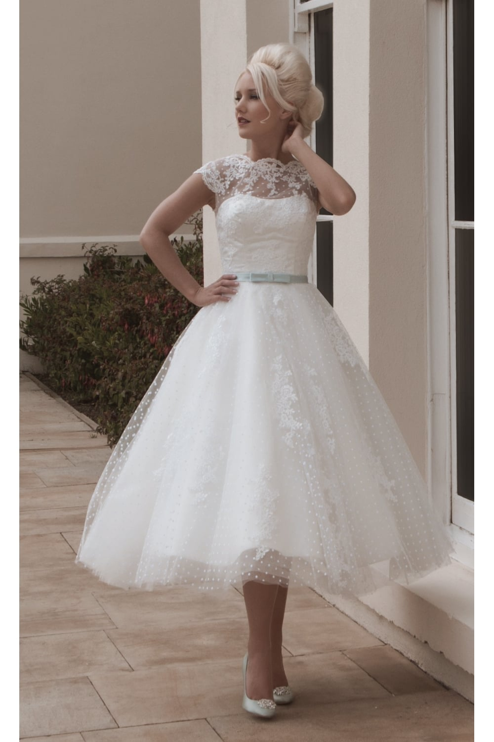 House Of Mooshki Claire Tea Length Retro Polka Dot Lace Short Wedding Dress