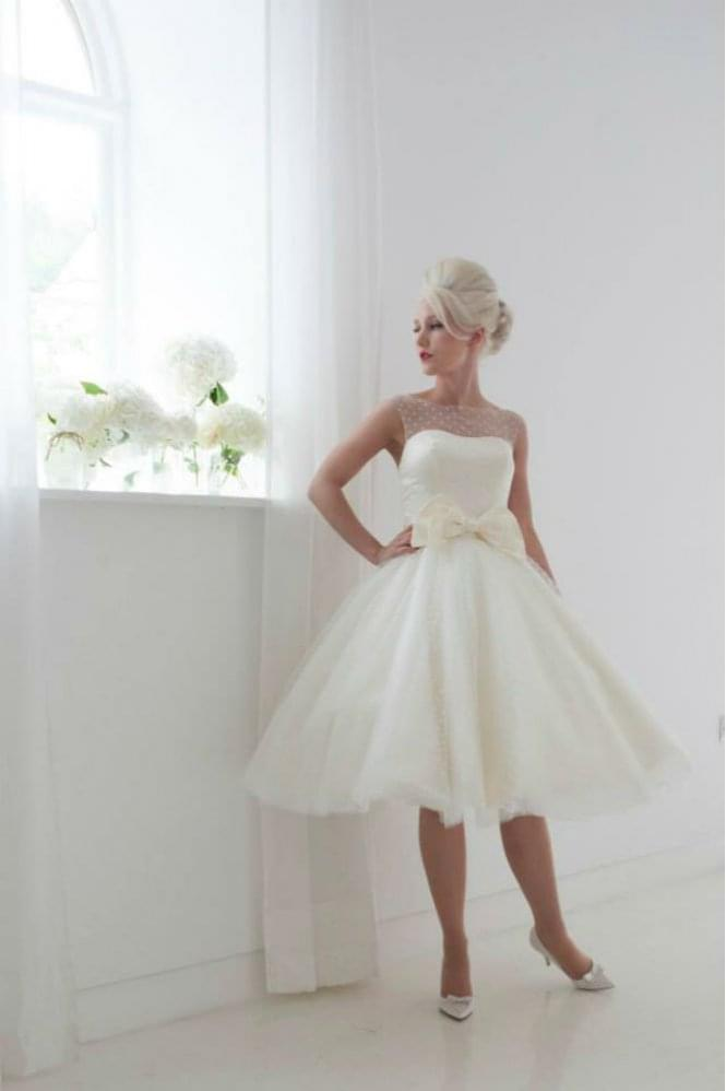 House of Mooshki DAISY Retro Polka Dot Tea Length Short Wedding Dress