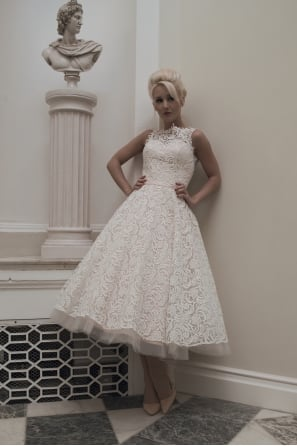DARA Tea Length Vintage Inspired Lace Short Wedding Dress