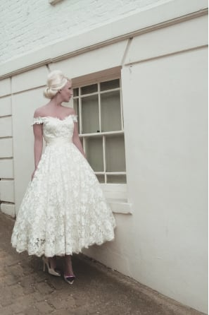 MAEVE Tea Length Vintage Lace Short Wedding Dress
