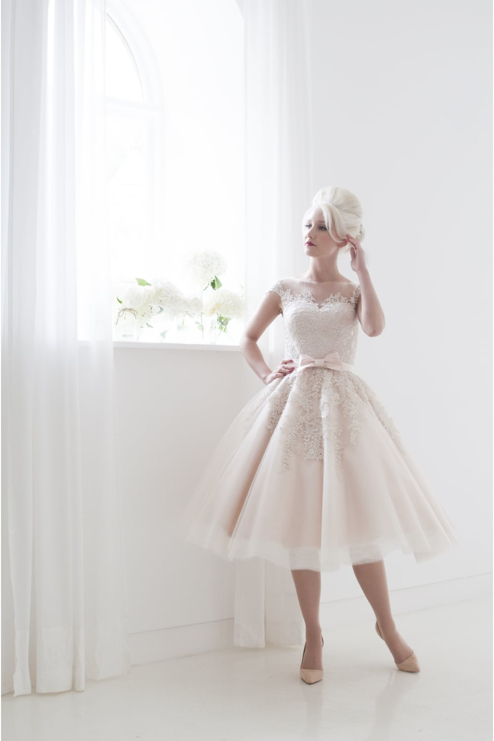 Poppy by house of mooshki blush short tea length wedding for Vintage wedding dresses tea length