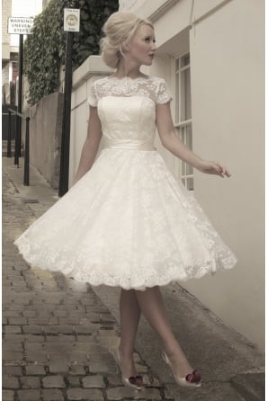 SARAH Tea Length Lace 1950s 60s Wedding Dress With Short Sleeve