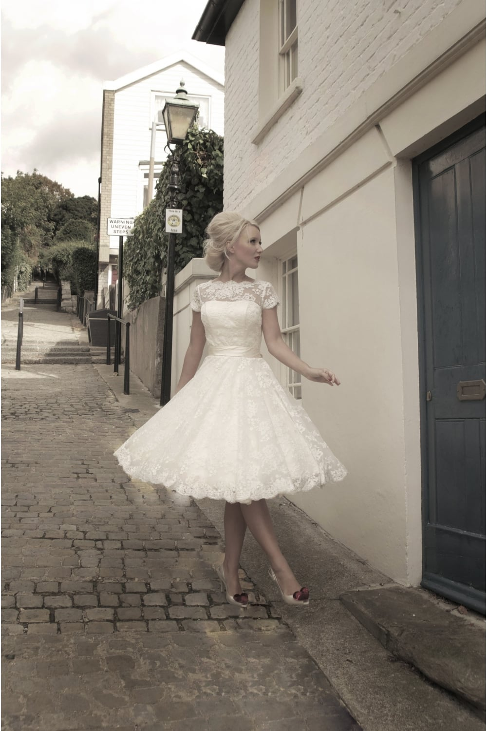 60s style wedding dresses 60's wedding dress Puffed Sleeves Organza and Satin Wedding Dress with Applique