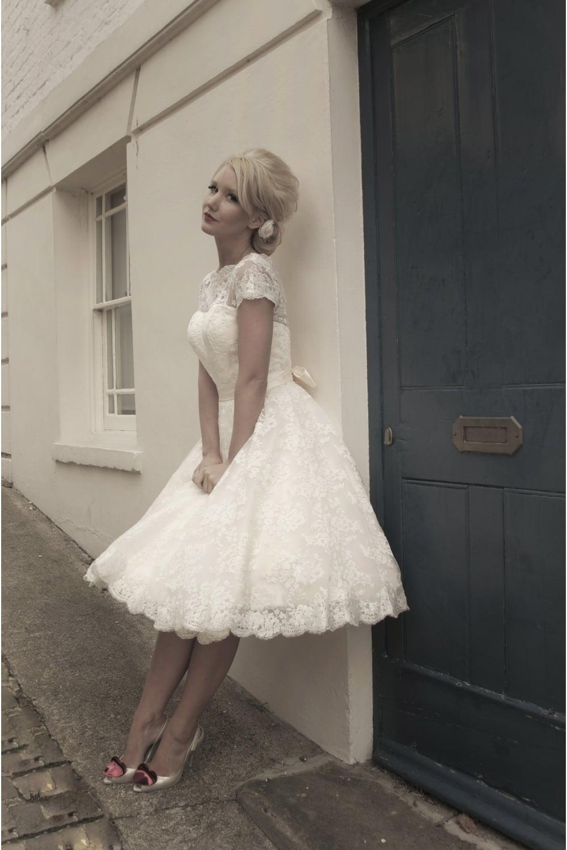 Sarah Tea Length Lace 1950s 60s Wedding Dress With Short Sleeve