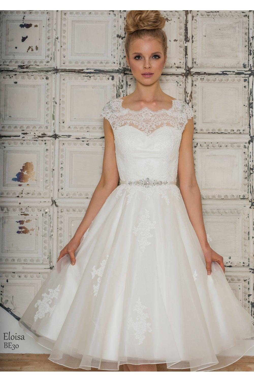 Eloisa Tea Length Retro Vintage Wedding Dress With Cap Sleeve