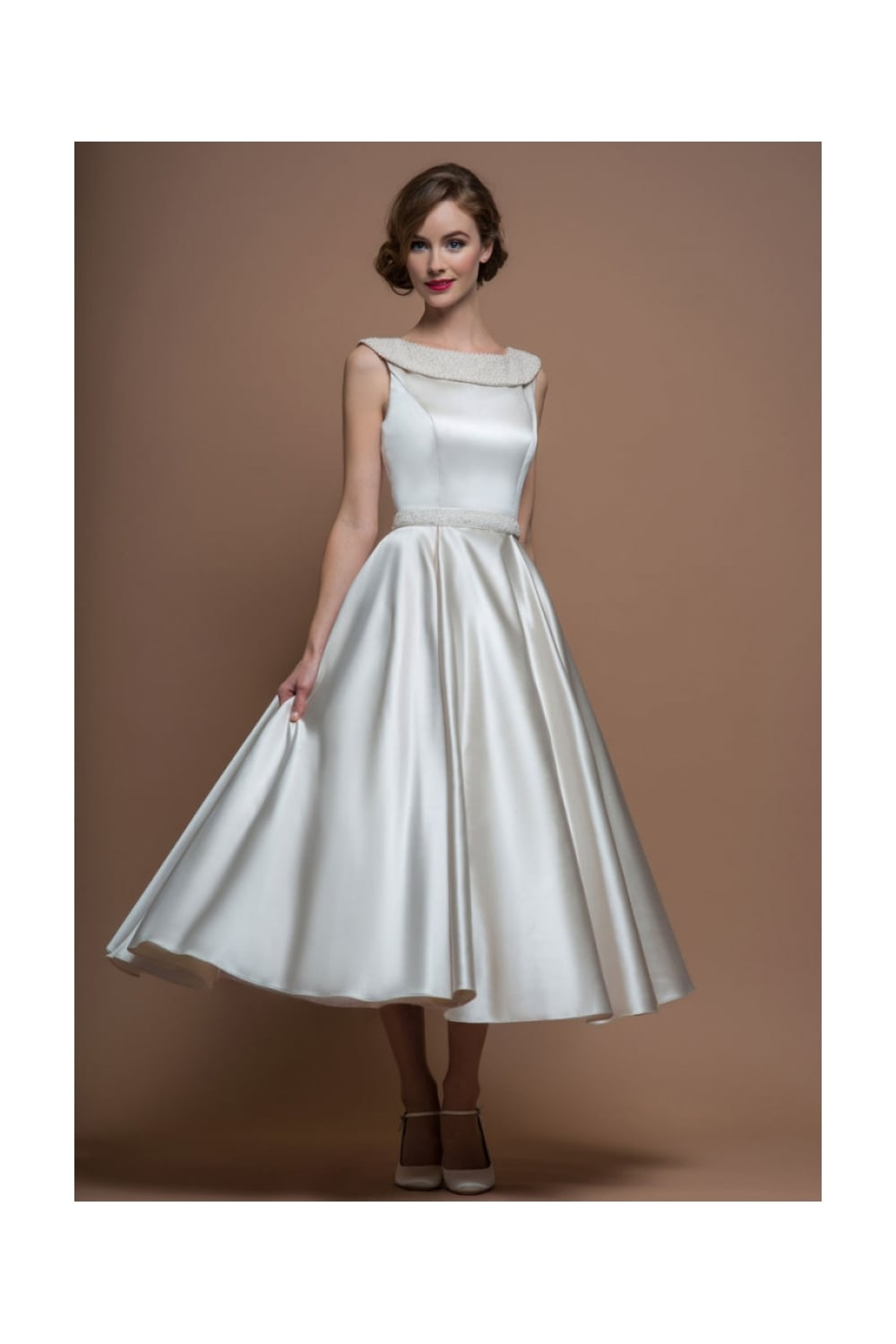 Loulou Bridal Agatha Satin 50s 60s Tea Calf Length Short Wedding Dress