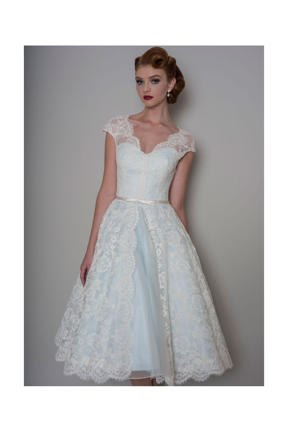Lb142 bella tea length lace blue wedding dress for Blue wedding dress with sleeves