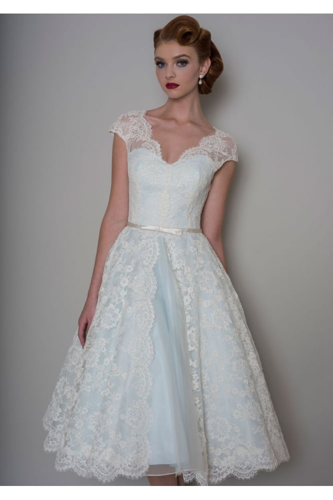 Loulou BELLA Tea Length Lace Blue Short Wedding Dress With Cap Sleeve