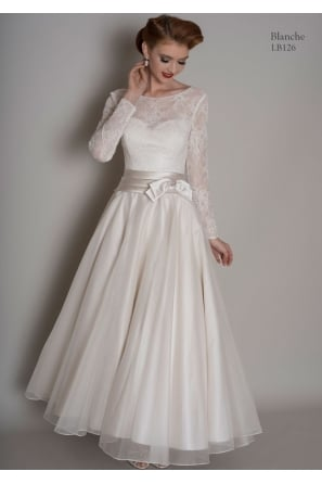 BLANCHE Calf Length Short Vintage Wedding Dress With Sleeves