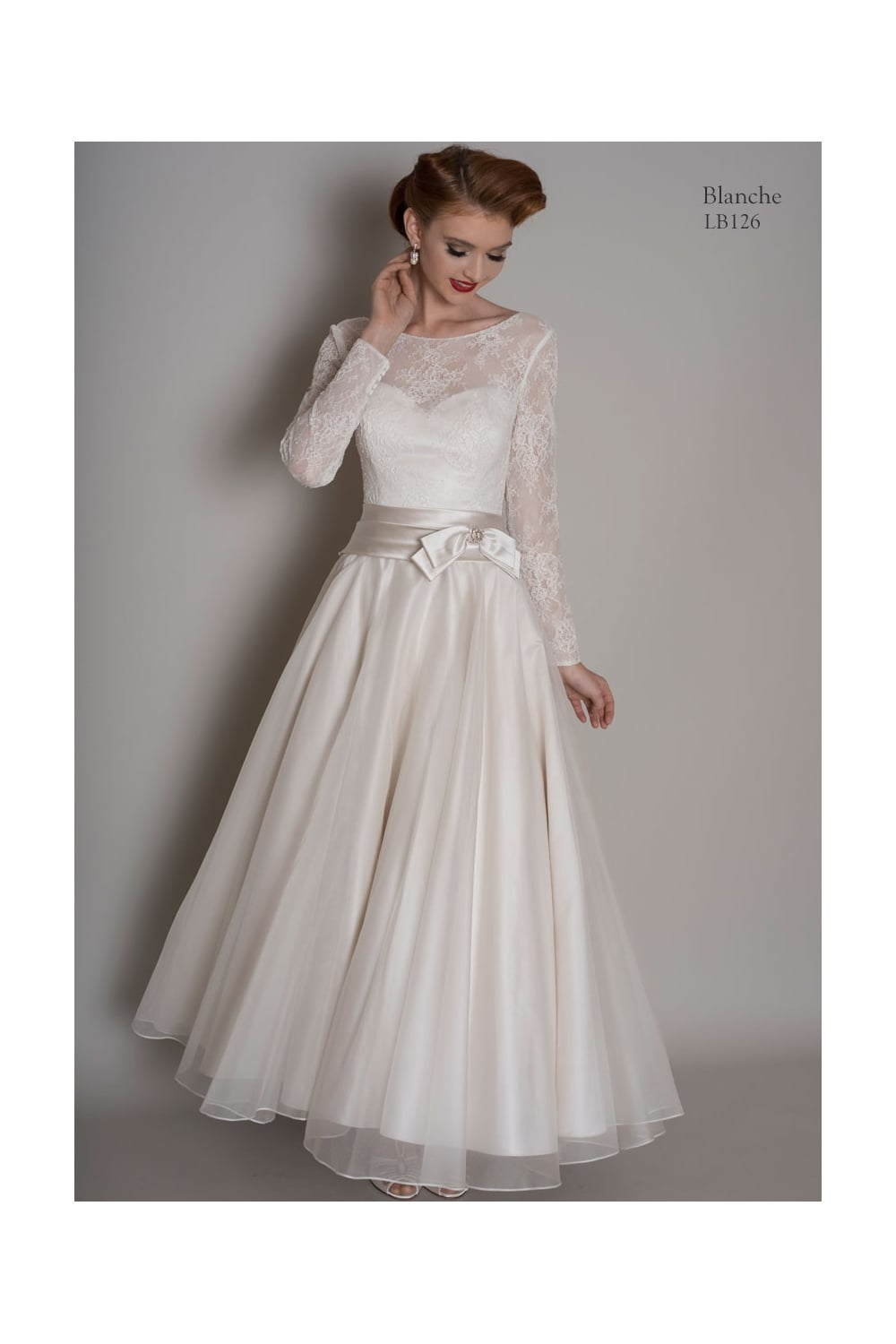 Loulou BLANCHE Calf Length Short Vintage Wedding Dress With Sleeves ...