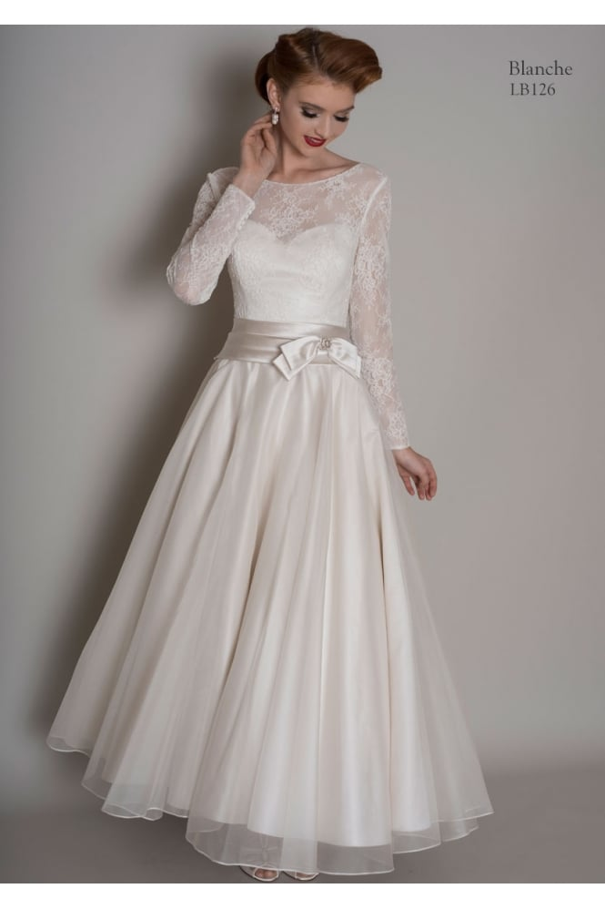 Loulou BLANCHE Calf Length Short Vintage Wedding Dress With Sleeves