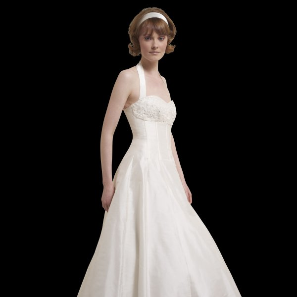 Vintage Wedding Dresses Nyc: Bonnie Vintage Tea Length Halter Neck Wedding Dress By