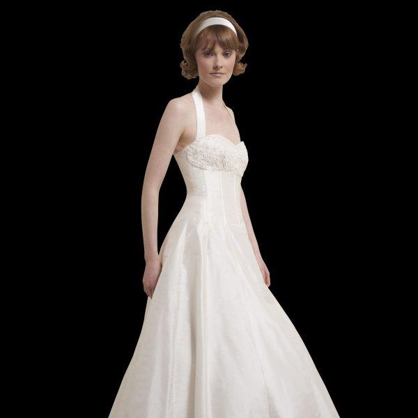 Vintage Wedding Dresses For Sale: Bonnie Vintage Tea Length Halter Neck Wedding Dress By