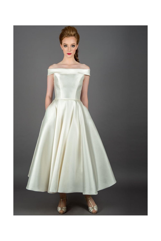 Tea Length Wedding Dresses.Callie Vintage Mikado Tea Length Wedding Dress