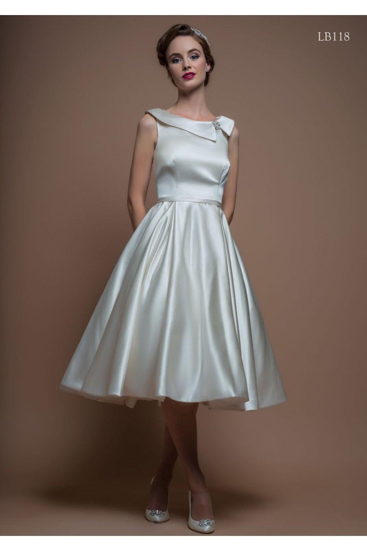 Retro Wedding Dresses.Elisa Satin 1950s Tea Length Vintage Retro Wedding Dress