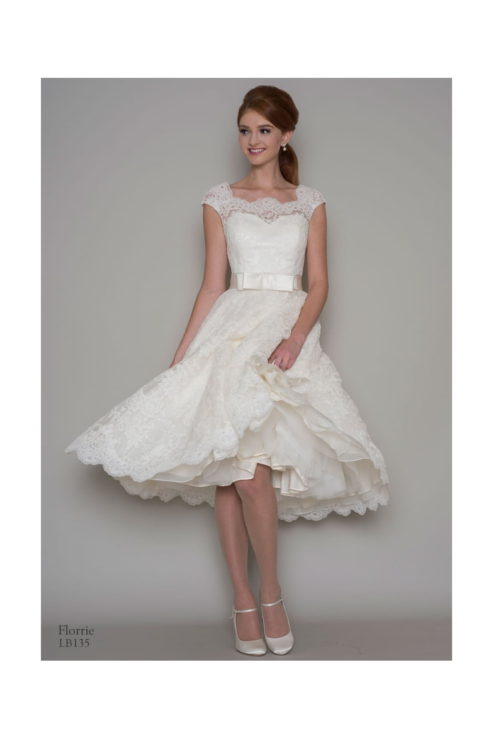 Loulou Bridal Florrie Lace Tea Length Short Wedding Dress With Cap Sleeve