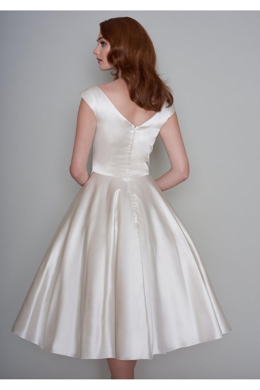 Lb172 Loulou Bridal Tessy Tea Length Satin Wedding Dress With Pockets