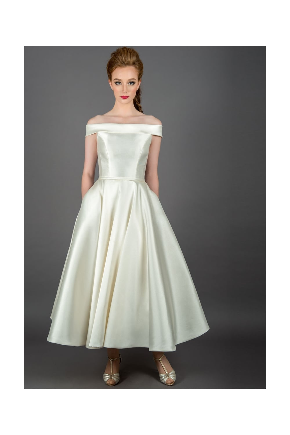 Loulou CALLIE Vintage Mikado Tea Length Wedding Dress - Short, Knee ...