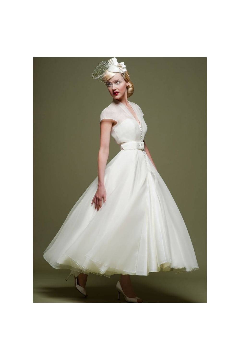 Cicely 1950s Calf Tea Length Wedding Gown With Jacket